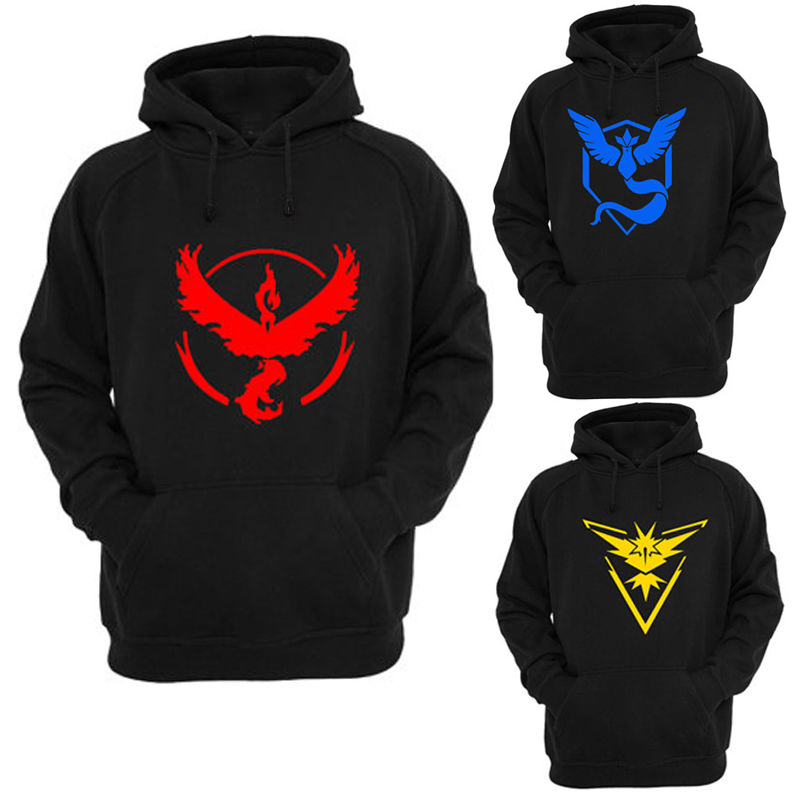 Pokemon Go Logo Hooded Sweatshirt Team Valor Instinct Mystic Symbol Cosplay Costume Jacket Hoodie Plus Size