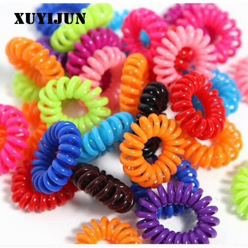 20PCS New Small Telephone Line Hair Ropes Girls Colorful Elastic Hair Bands Kid Ponytail Holder Tie Gum Hair Accessories 5pcs lot new kids small hair ropes candy colors elastic hair bands rubber bands girls ponytail holder hair accessories tie gums