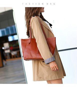 Women Handbags 100% Genuine Leather Lady Casual Tote Fashion Female Purse Grey Large Shoulder Bag handbag women Bolsa Feminina