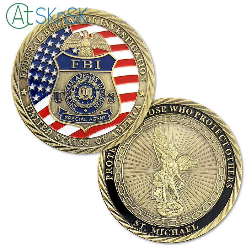 American US FBI Special Agent Saint Michael GOLD Challenge Coin Collectible Gift