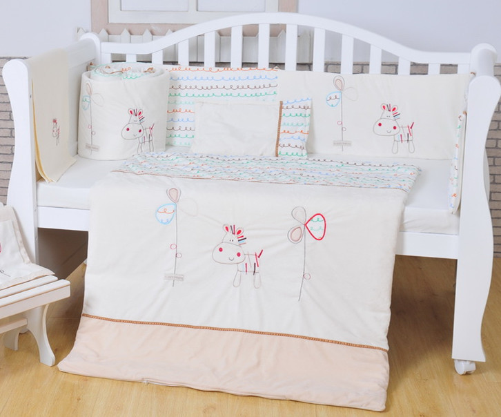 100 Cotton White Baby Bedding Set Embroidery Lovely Pony