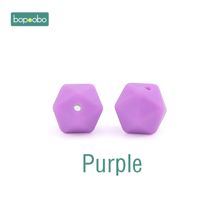 Bopoobo 100pc Baby Teether Silicone Beads Hexagon 14mm Food Grade Silicone Rodent Bead For Diy Pendant Necklace Teething Beads