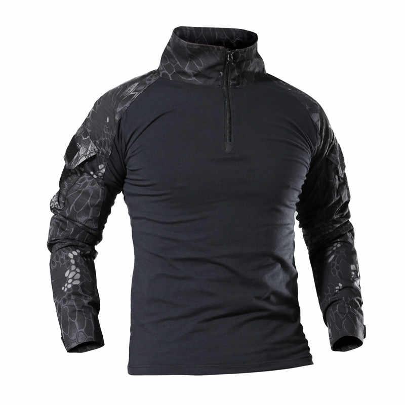 SJ-Maurie на открытом воздухе Охота базовый слой Для мужчин футболка с длинным рукавом тактическая группировка сухопутных сил рубашки форма Пеший Туризм футболка для охоты