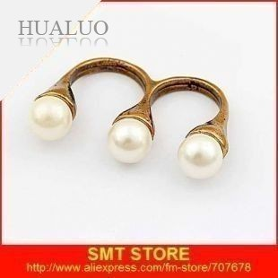 Low Price.Fashion Retro Double Finger Pearl Rings.R168
