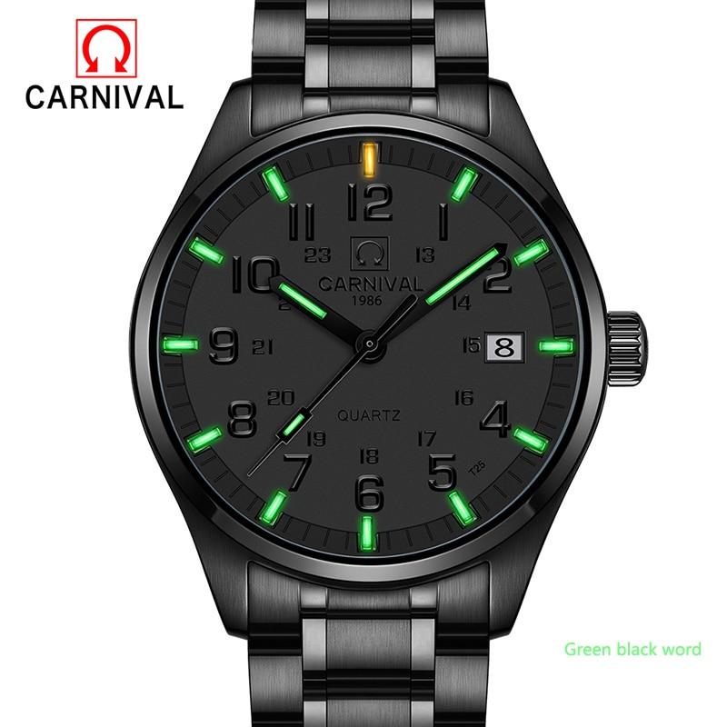New Carnival Tritium Light Mens Watch Quartz Dubbel kalender Datum - Herrklockor
