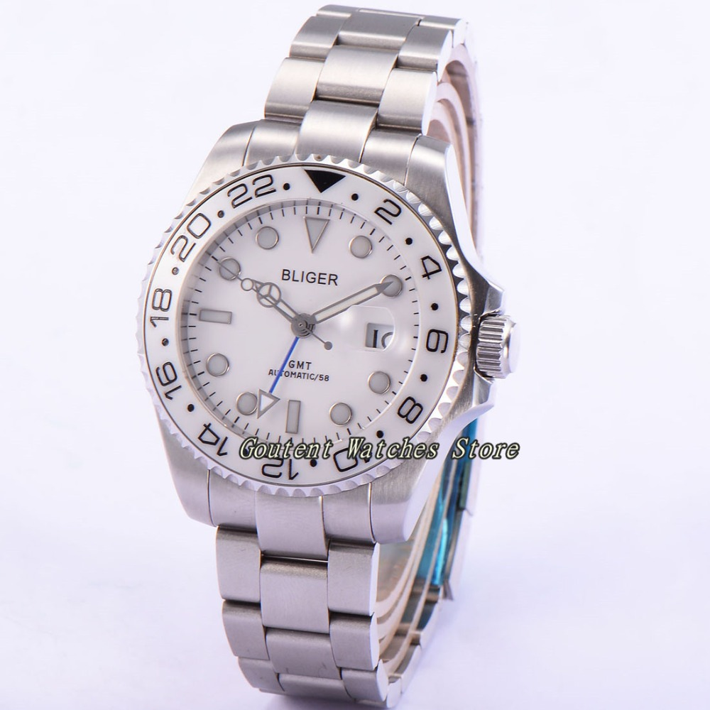 43mm Bliger SS. Case White Dial GMT Sapphire Glass