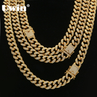Uwin Top Quality Full Bling Zirconia Triple Lock Luxury Necklace Fashion Hiphop Choker Necklaces Jewelry 14mm Cuban Link Chain