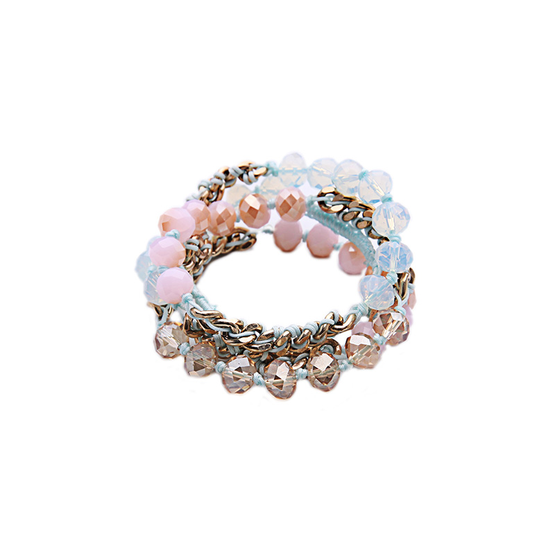 Pink Blue Summer Bohemian Style Beads Bracelet Female Layered Rope Braided Chain Bracelet Accessories