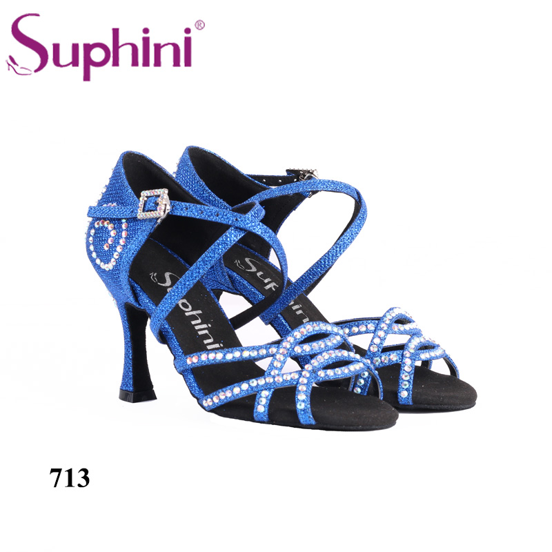 2018 Suphini Blue Dance Shoes New Type Flare Heel Latin Dance Shoes 8.5cm Heel Salsa Dancing Shoes for Woman Free Shipping dance is for everyone