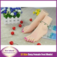 New Size 37 Girls Foot Simulation Fake Foot Fetish Real Skin Female Feet Sex Pussy Product Foot Worship Mold 3704 Free Shipping