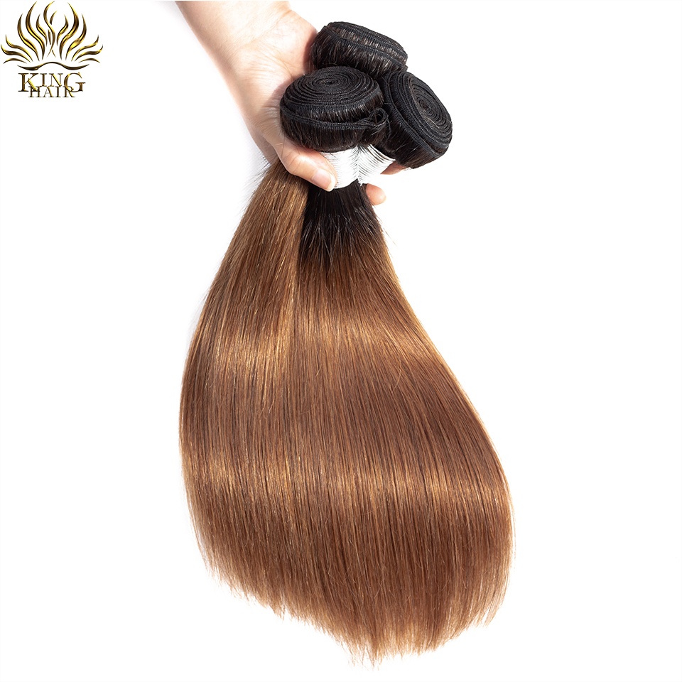 King Hair Brazilian Straight Hair Colored Human Hair Weave Bundles 3 pieces lot Two Tone 1b/30 Remy Hair Weaving Extensions