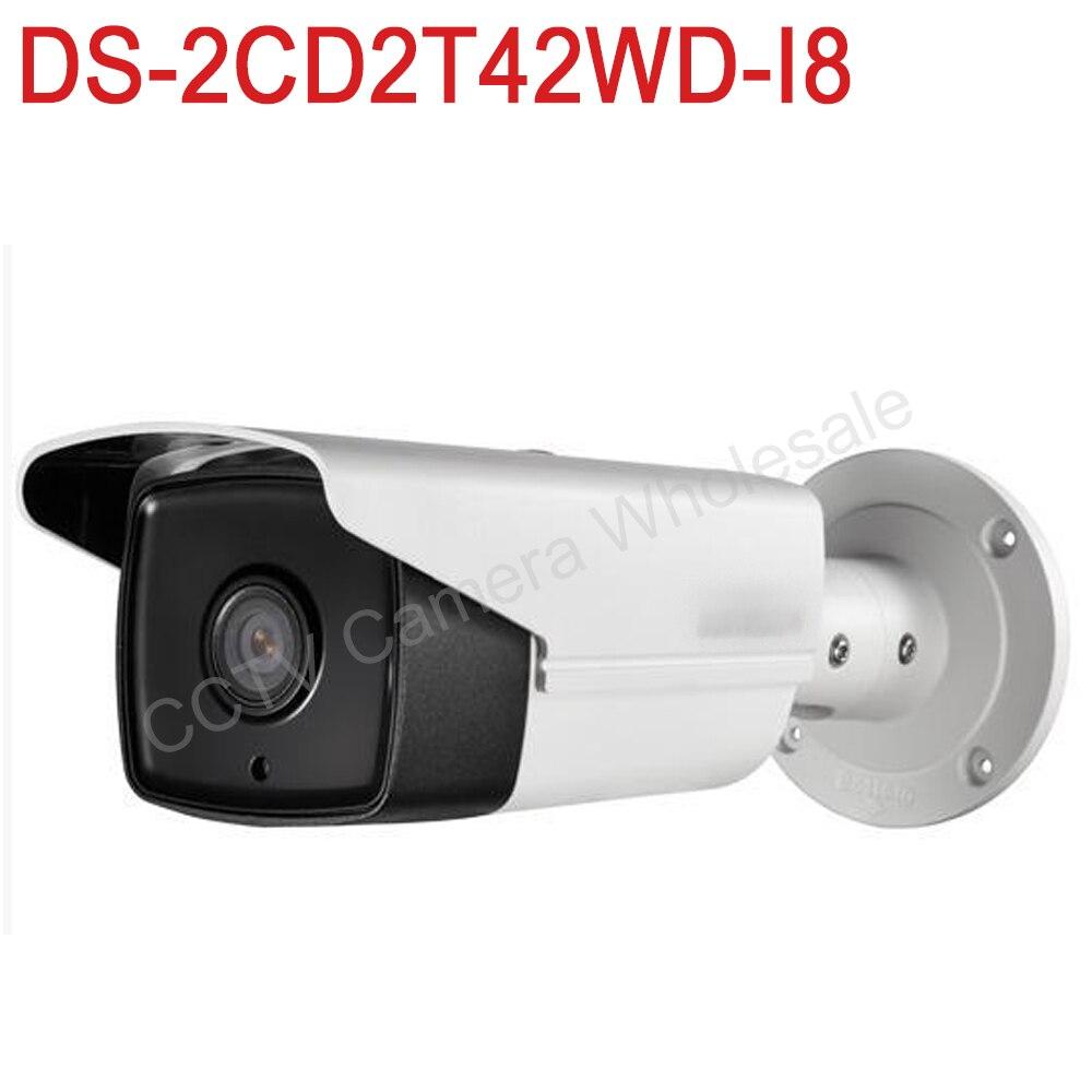 В наличии DS-2CD2T42WD-I8 международных английская версия 4MP EXIR сети IP пули безопасности Камера POE, 80 м ИК, 120dB WDR, H.264 +