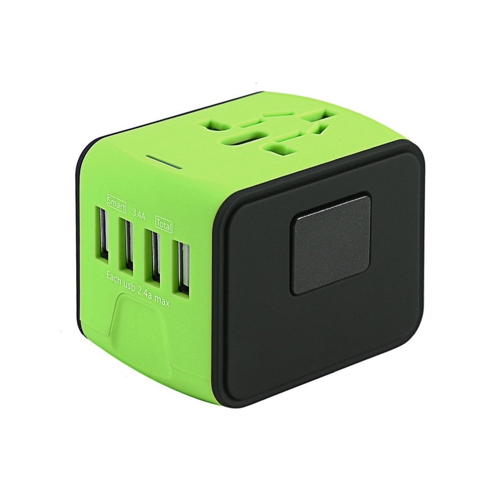 JUESSEN International Travel Adapter Charger 5V 3.4A 4 usb AC Wall Outlet Plugs Power Worldwide Charger for US / EU / UK / AU