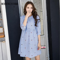 MODENGYUNMA embroidery Maternity Clothes Pregnancy BreastFeeding Cotton Dress Blue Nursing Clothes For Pregnant Women clothing