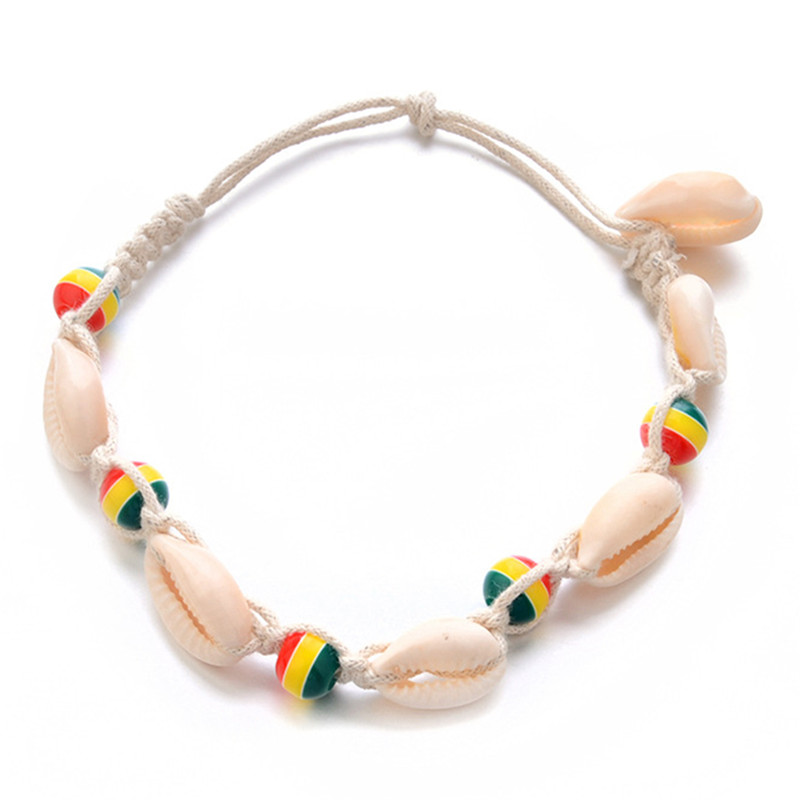 Shell Ankle Bracelet Bohemian Anklet Women Foot Jewelry Summer Beach Holiday Accessories Vintage Rope Wood Bead Anklet