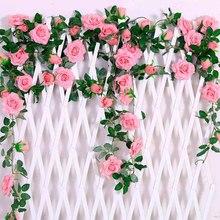 FENGRISE Artificial Flowers Hanging Decor Roses Vine Plants Leaves Garland For Home Decoration Wedding