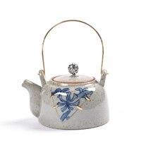 Chinese blue and white porcelain teapot bronze pot household handmade ceramic gold Kung Fu tea set antique teaware kettle gift