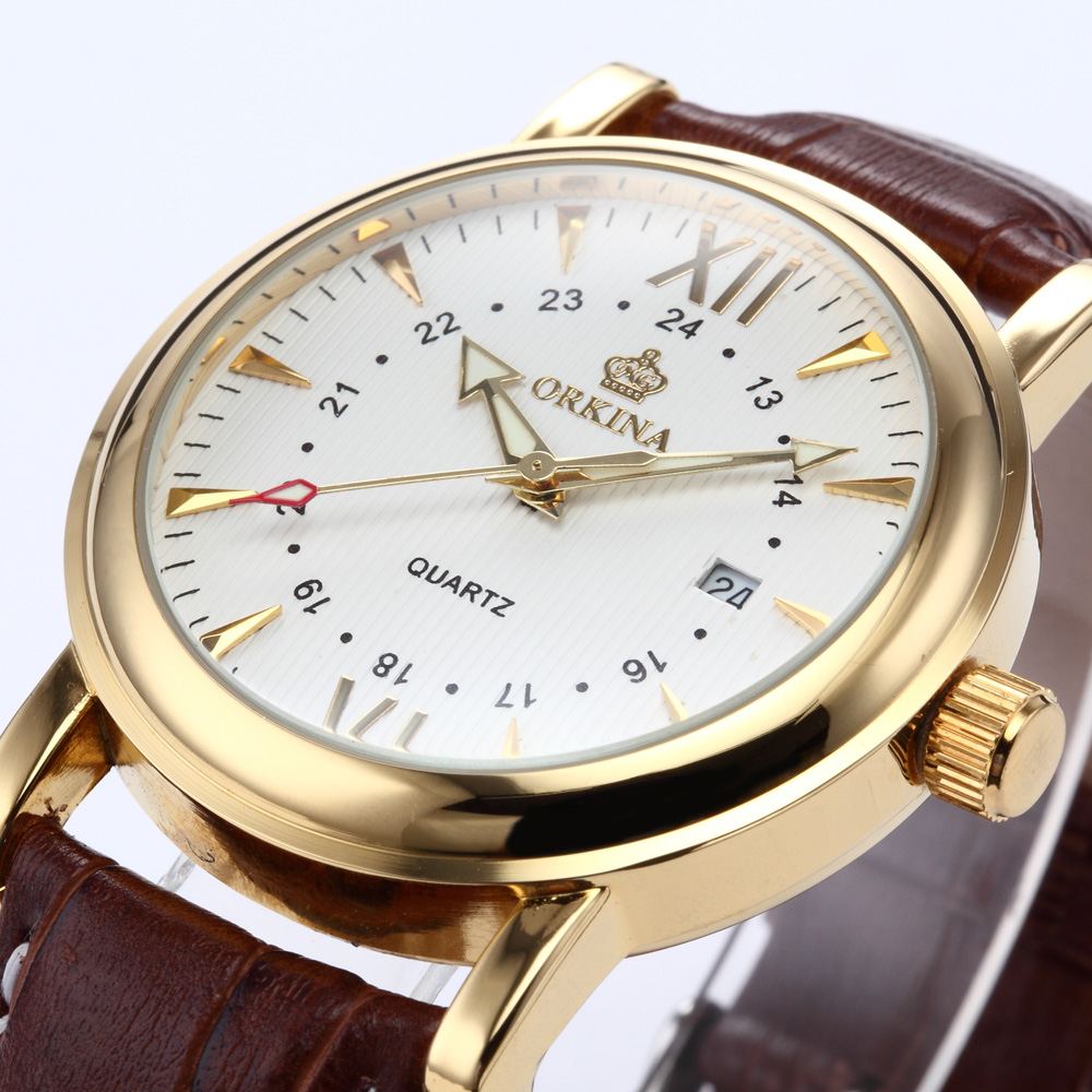Orkina Relogio Masculino 2016 New Clock Men Gold Case White Dial Date Men Sport Leather Quartz Wrist Watch Cool Horloges orkina gold watch 2016 new elegant armbanduhr herrenuhr quarzuhr uhr cool horloges mannen gift box wrist watches for men