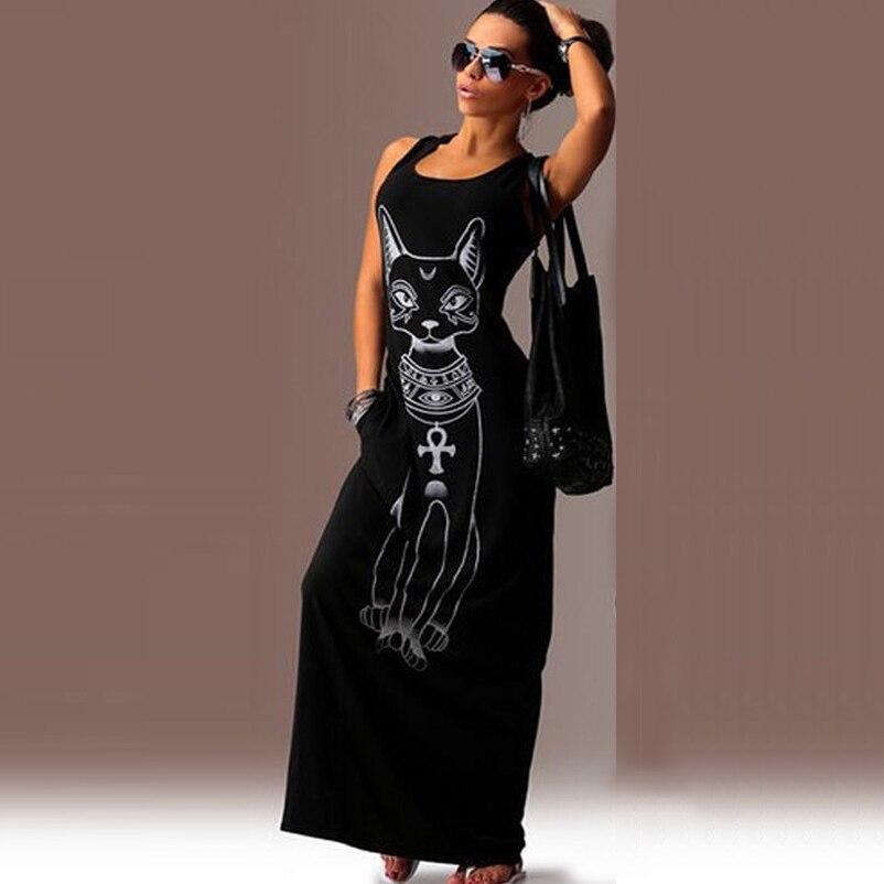 Buy Cheap New Fashion Black Grey Summer Women dress Long Style Cotton Sleeveless Dress animal print Elastic casual print dress sleeveless