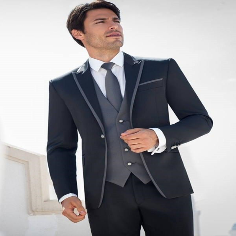 2017 Elegant Black Men Suits Wool Blend Blazer Pants with Grey Satin Vest Groomsmen Wedding Prom Tuxedos (Jacket+Pants+Vest)
