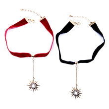 Necklace female fashion accessories Long chain necklace set auger stars clavicle female personality ribbon collar neckband(China)