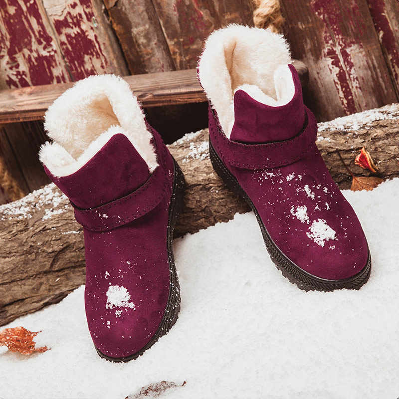 Women Boots Winter Plush Inside Snow Boots Suede Low Heels Ankle Boots For Female Winter Shoes