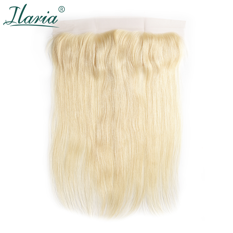 ILARIA HAIR Brazilian 613 Blonde Human Hair Lace Frontal Closure With Baby Hair Ear To Ear Remy Straight Transparent Lace