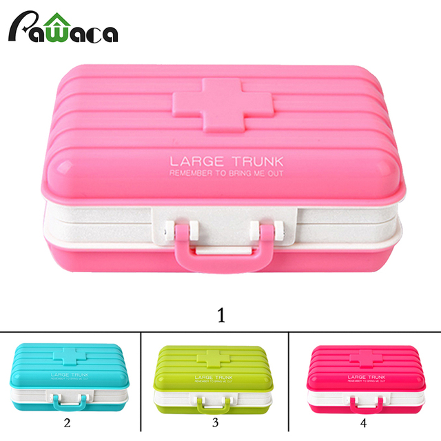 Portable Waterproof Cute Mini Suitcase Shape Seal Pill Case Box Medical Kit  Tool Jewelry Storage Boxes