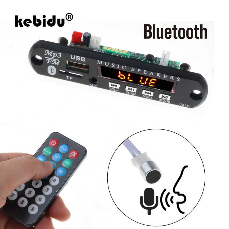Kebidu Bluetooth manos libres Kit de coche 5 V-12 V MP3 jugador TF USB de Audio de 3,5 Mm AUX decodificador Junta radio FM para coche para Iphone Android