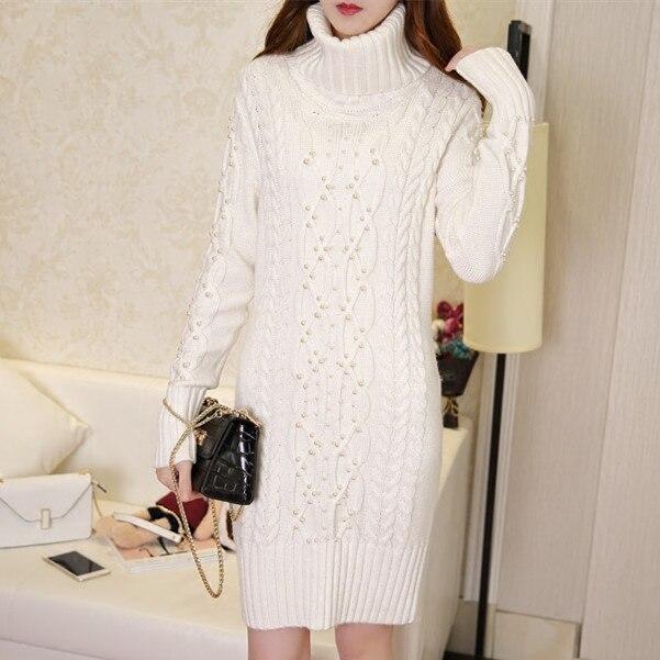 Европейский модное платье 2018 платье зима вязаный кашемировый свитер с высоким воротом бисером длинная куртка тонкий вязаный свитер утолще