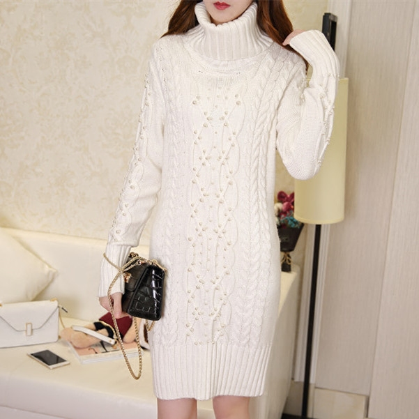 European fashion dress 2018 winter gown knitted cashmere turtleneck sweater Beaded long jacket slim knit sweater thickening