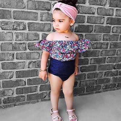 Kids Toddler Infant Baby Girls 2Pcs Floral Outfits Clothes Off Shoulder Floral Tops+ Bubble Bottom Bowknot Headband