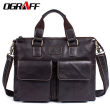 hot deal buy ograff men's bag genuine leather messenger bags crossbody shoulder bag laptops business handbags tote bag design male briefcase