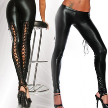 Women Sexy Like Lace Black Faux Leather Gothic Wet Look Clubwear Latex Legging Pants