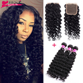 Indian Deep Wave With Closure 3 Bundles Indian Virgin Hair With Closure 7A Indian Curly Virgin Hair With Closure Fast Shipping