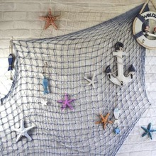 Fishing Net Wall Hangings Decor with Seashells Rustic Nautical Style Ornaments Decorative For Home Bar