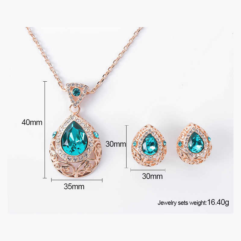 Новое поступление ювелирные изделия с фианитами набор для женщин Золотой Цвет Кристалл Подвески Ожерелья Серьги гвоздики Мода юбилей подарок