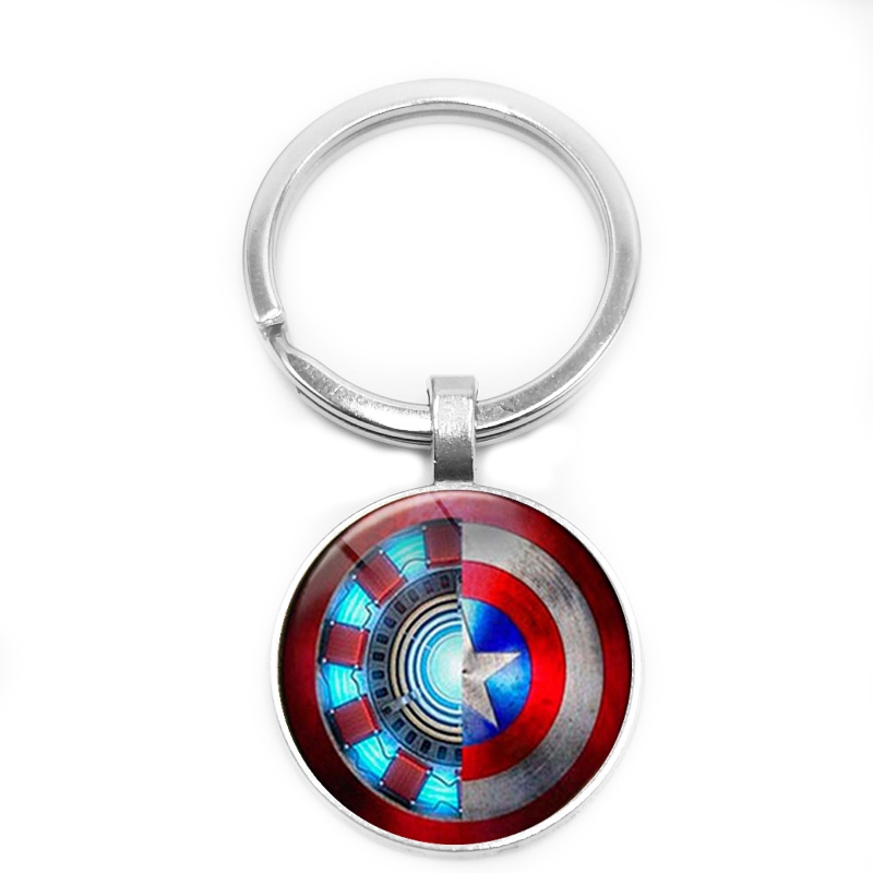 2019 / New Avengers Movie Series Key Ring Iron Man Heart Shape And Captain America Shield Glass Bevel Pendant Keychain