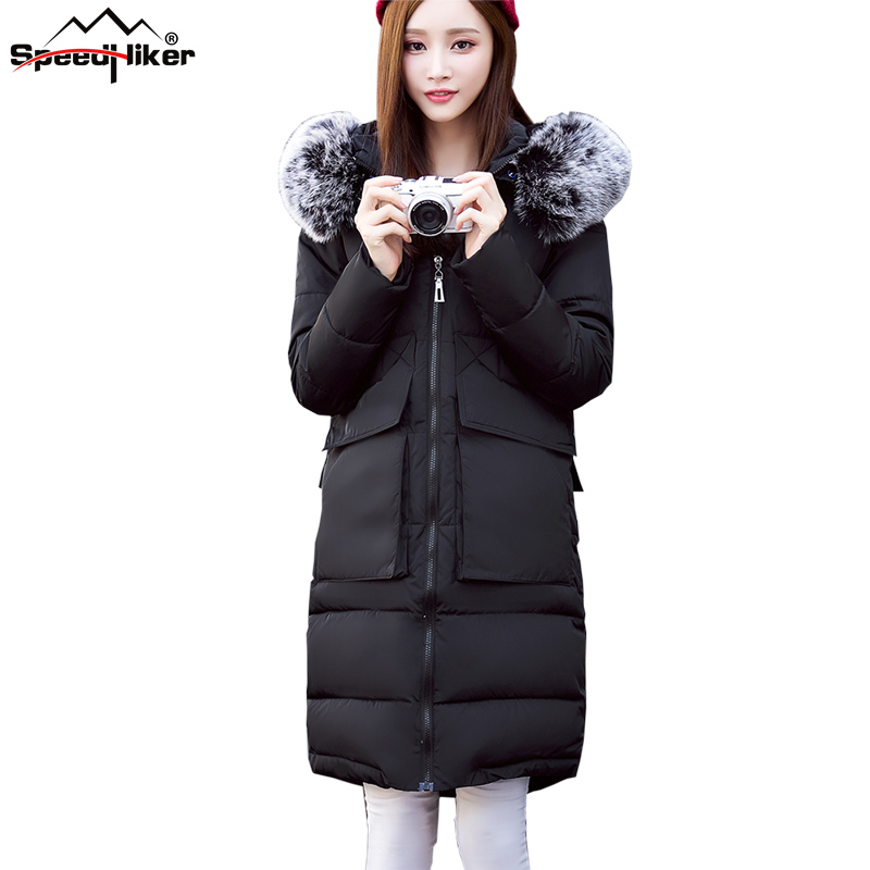 Speed Hiker 2016 Fashion winter jacket coat women Long thicken down cotton padded faux big fur
