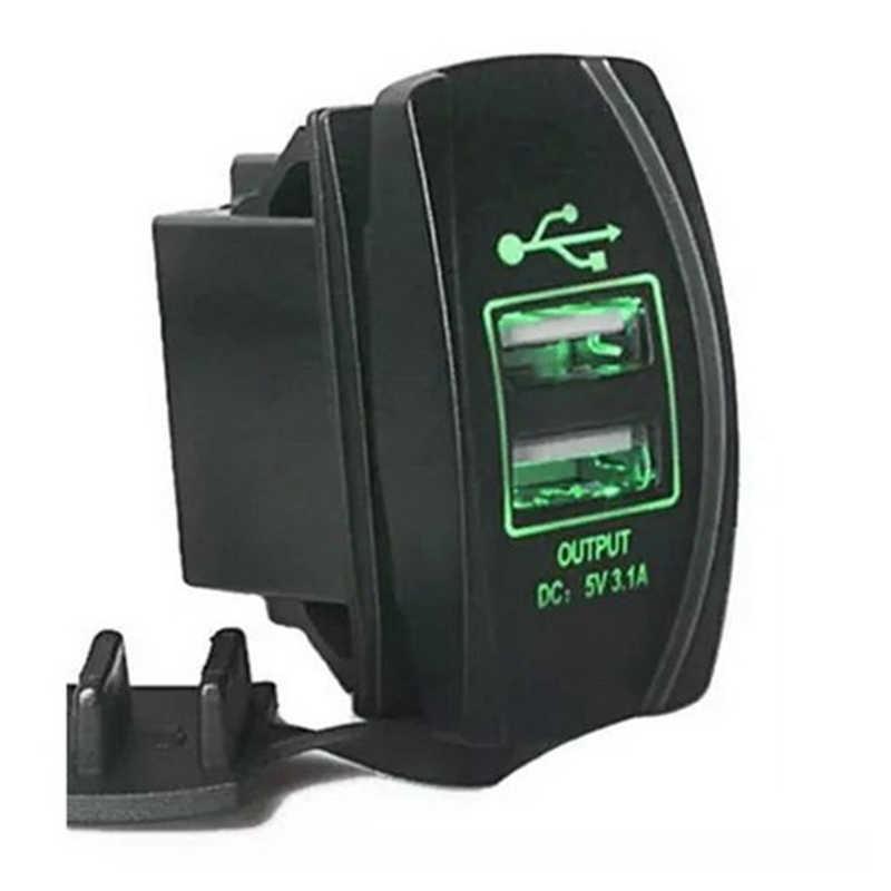 عالمي شاحن سيارة مقبس شاحن USB مقاوم للماء منافذ مزدوجة منفذ USB تيار مستمر 12 فولت 24 فولت 3.1A لتويوتا قارب آيفون سامسونج SUV ATV