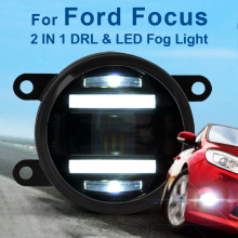 For Ford Focus 90mm Round Auto Car Trucks DRL Daytime Fog Led Daytime Running And Led Fog 2 In 1 With Projector Lens 2009-2014 free shipping drl for ford focus 2014 2015 2016 car daytime running lights auto safety led day driving light with lamp door