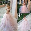 2017Girls Pageant Dress Vestido De Daminha Blush Pink Ball Gown Long Flower Girl Dress Sparkly Children Prom Gowns Luxurious