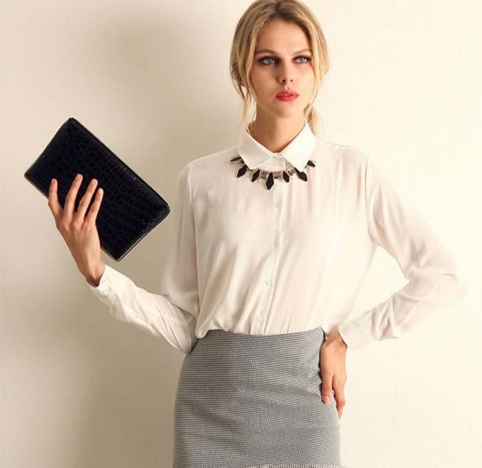 1PC Women Chiffon Blouse Long Sleeve Shirt Women Tops Office Lady Blusas Femininas Camisas Mujer Z231 5