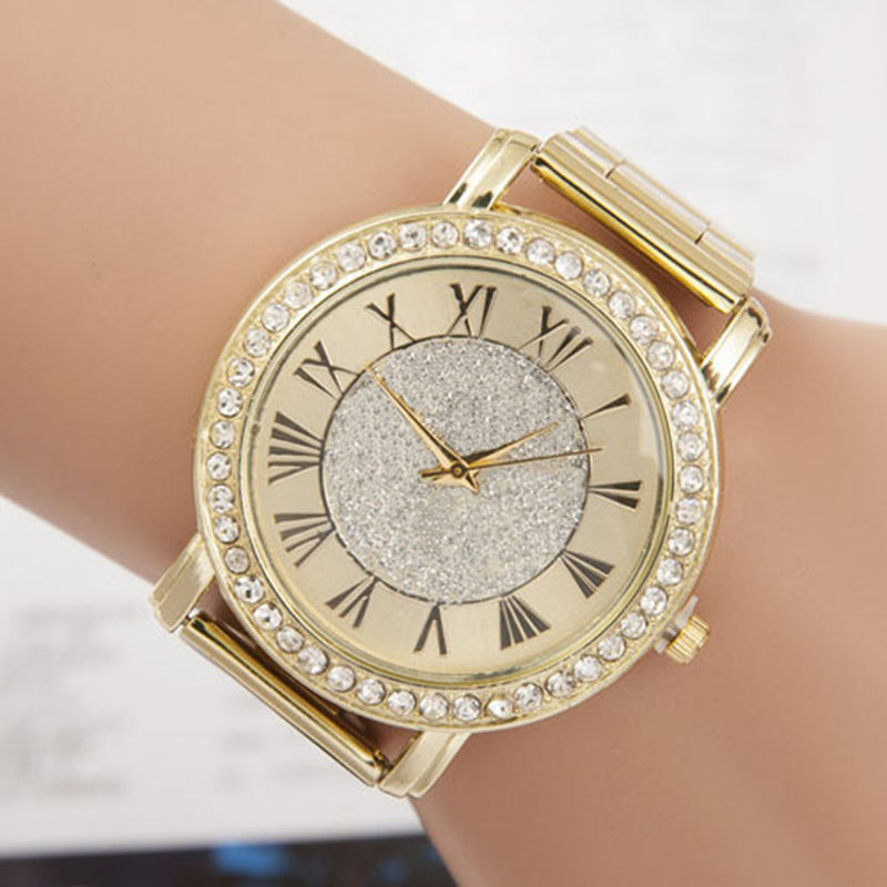 2016 New Gold Rhinestone Geneva Quartz Fashion Watch Women Full Steel Watches Luxury Brand Clock Relogio Feminino Wristwatches