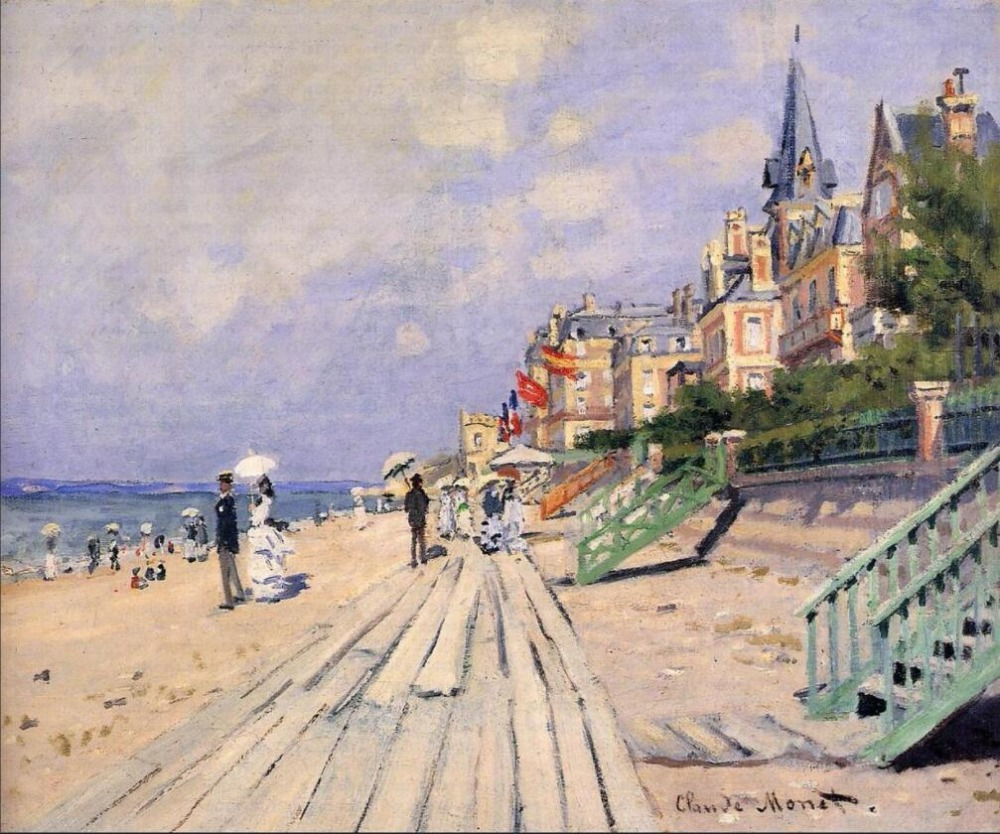 High quality Oil painting Canvas Reproductions The Boardwalk at Trouville (1870) By Claude Monet hand painted