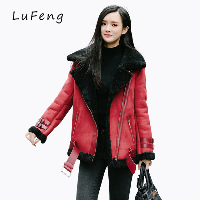 Winter Red Suede Jacket Bolero Women Fleece Shearling Coat Cappotto Donna Manteaux Femme Motorcycle Souvenir Velvet 656