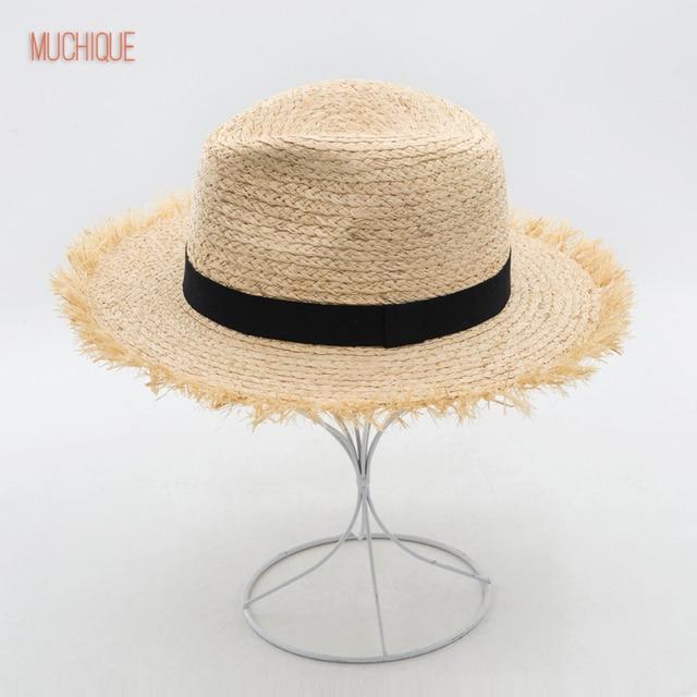 12286270 Muchique Hat Raffia Panama Straw Hat Summer Sun Hats for Women with Fray Edge  Ribbon Trim Wide Brim Safari Hat