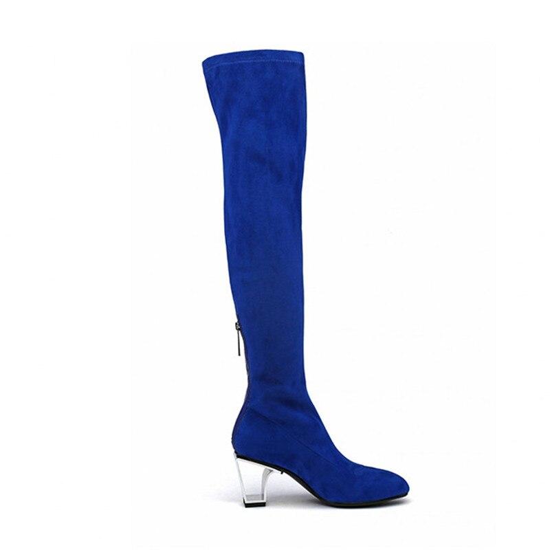 Femmes Genou Sur Mode Botines Le Longue Cm Tissu Botas Hiver Britannique Noir Haute bleu Bottines Mujer Chunky Bottes 7 Talons Stretch Pk0XOn8w