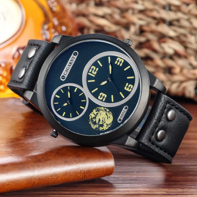 Relojes para hombre marca de lujo Cagarny 6852 correa de cuero cuarzo doble zona horaria analógica fecha hombres deportes militar Oversize reloj de pulsera