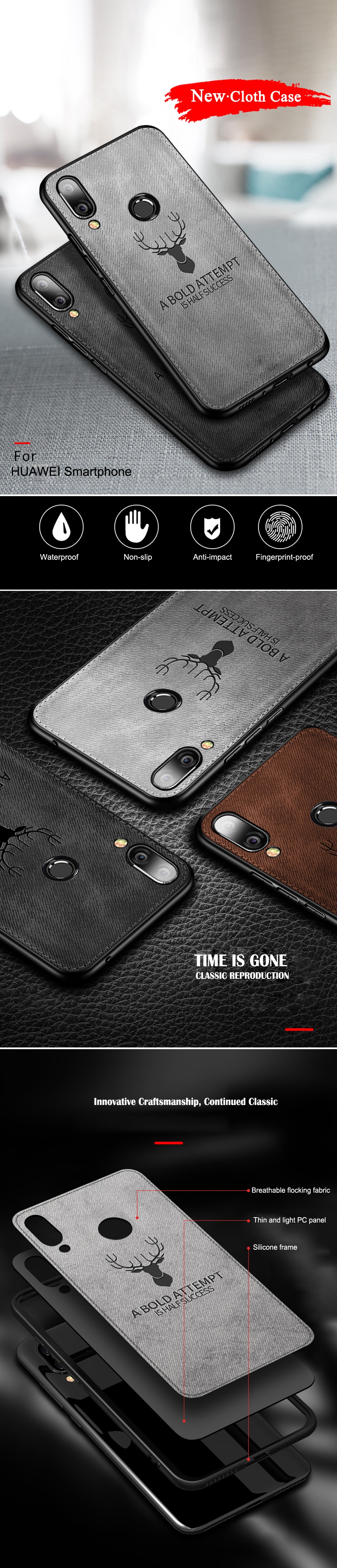 For HUAWEI Honor 8X 8C 8A Case Cover TPU Silicone Bumper Soft DEER Cloth Fabric Cover For Huawei honor 7X 7C 6C 7A Pro cases (7)